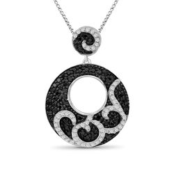1.00 ct. t.w. Black and White Diamond Swirl Pendant Necklace in Sterling Silver, , default