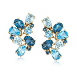 7.00 ct. t.w. Blue Topaz Cluster Earrings in 14kt Yellow Gold, , default