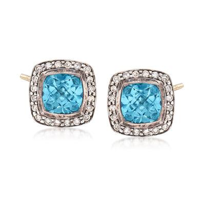 C. 1990 Vintage David Yurman 2.50 ct. t.w. Blue Topaz and .50 ct. t.w. Diamond Earrings in Sterling Silver, , default