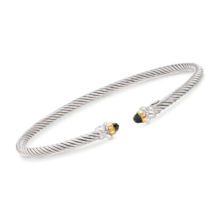 """Phillip Gavriel """"Italian Cable"""" .30 ct. t.w. Black Spinel Cuff Bracelet in Sterling Silver and 18kt Gold. 7"""""""