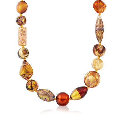 Italian Multicolored Amber Murano Glass Bead Necklace in 18kt Gold Over Sterling, , default
