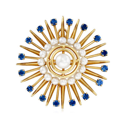C. 1940 Vintage Cultured Pearl and 1.60 ct. t.w. Sapphire Starburst Pin in 14kt Yellow Gold, , default