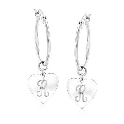 Sterling Silver Single-Initial Heart Charm Hoop Earrings