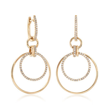 .58 ct. t.w. Diamond Multi-Circle Hoop Drop Earrings in 14kt Yellow Gold, , default