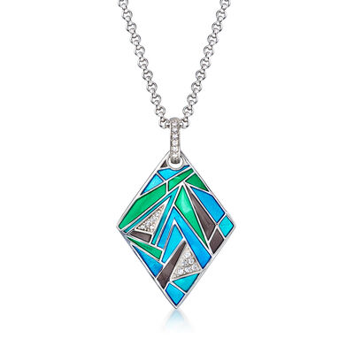 "Belle Etoile ""Chromatica"" Multicolored Enamel and .19 ct. t.w. CZ Pendant in Sterling Silver"