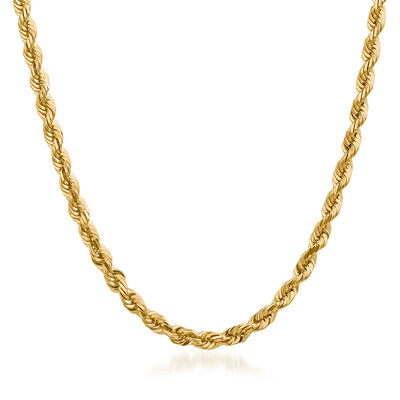 14kt Yellow Gold Rope Chain Necklace, , default