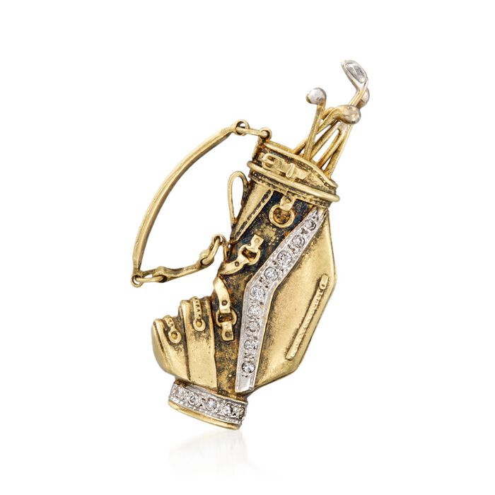 C. 1980 Vintage .20 ct. t.w. Diamond Golf Bag Pin in 18kt Yellow Gold, , default