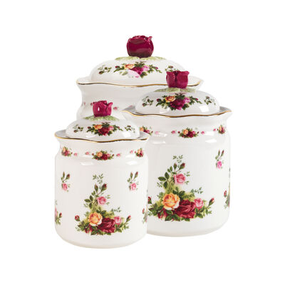 "Royal Albert ""Old Country Roses"" Set of 3 Canisters"