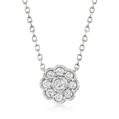 .25 ct. t.w. Diamond Floral Necklace in 14kt White Gold