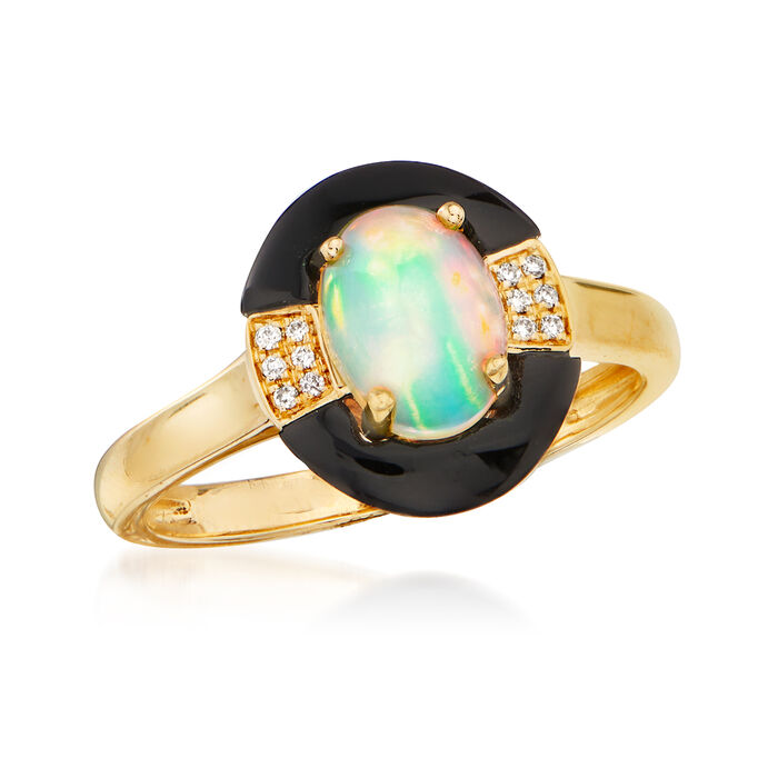 Opal and Black Onyx Ring with Diamond Accents in 14kt Yellow Gold