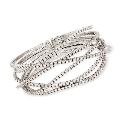 C. 2005 Vintage 7.65 ct. t.w. Diamond Criss-Cross Bracelet in 18kt White Gold, , default