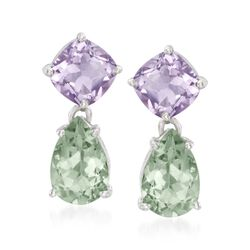 5.00 ct. t.w. Green Prasiolite and 4.40 ct. t.w. Amethyst Drop Earrings in Sterling Silver, , default