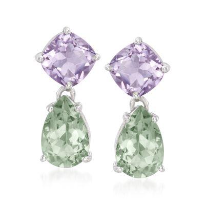 5.00 ct. t.w. Green Prasiolite and 4.40 ct. t.w. Amethyst Drop Earrings in Sterling Silver, , default