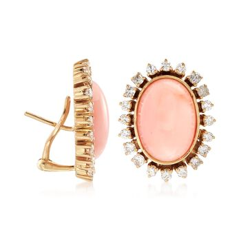 C. 1960 Vintage Pink Coral and 2.00 ct. t.w. Diamond Earrings in 18kt Yellow Gold