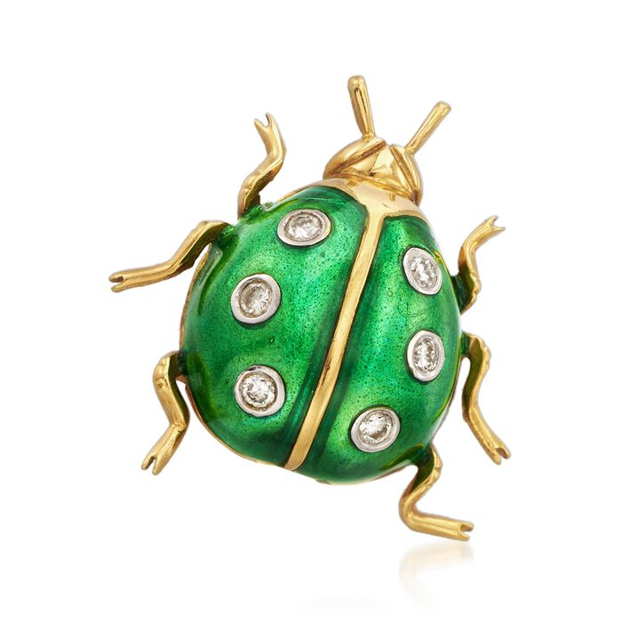 C. 1990 Vintage Green Enamel and .15 ct. t.w. Diamond Ladybug Pin in 18kt Yellow Gold, , default
