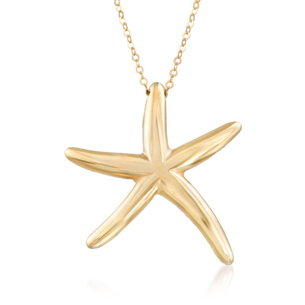 Italian 14kt yellow gold starfish pendant necklace 18 ross simons italian 14kt yellow gold starfish pendant necklace 18quot default aloadofball Choice Image