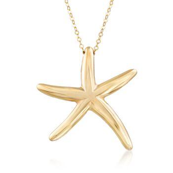 "Italian 14kt Yellow Gold Starfish Pendant Necklace. 18"", , default"