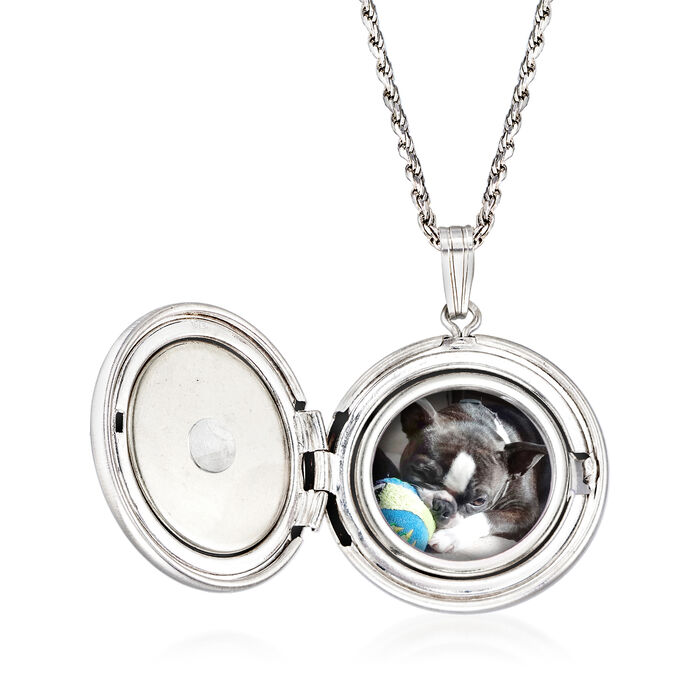 """""""In Loving Memory"""" Paw Print Pet Memorial and Photo Locket Pendant Necklace in Sterling Silver"""