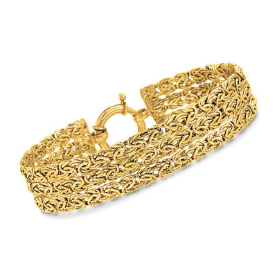 18kt Gold Over Sterling Three-Row Byzantine Bracelet