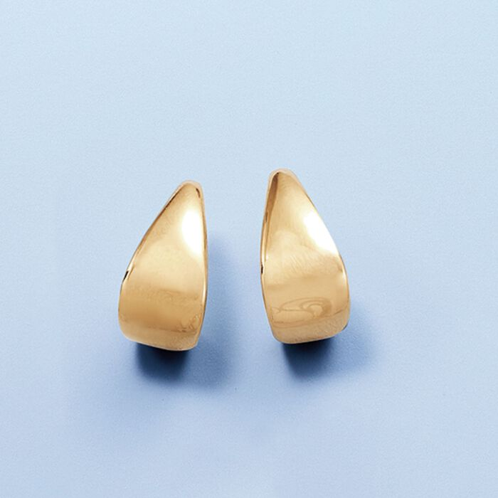 14kt Yellow Gold Graduated J-Hoop Earrings