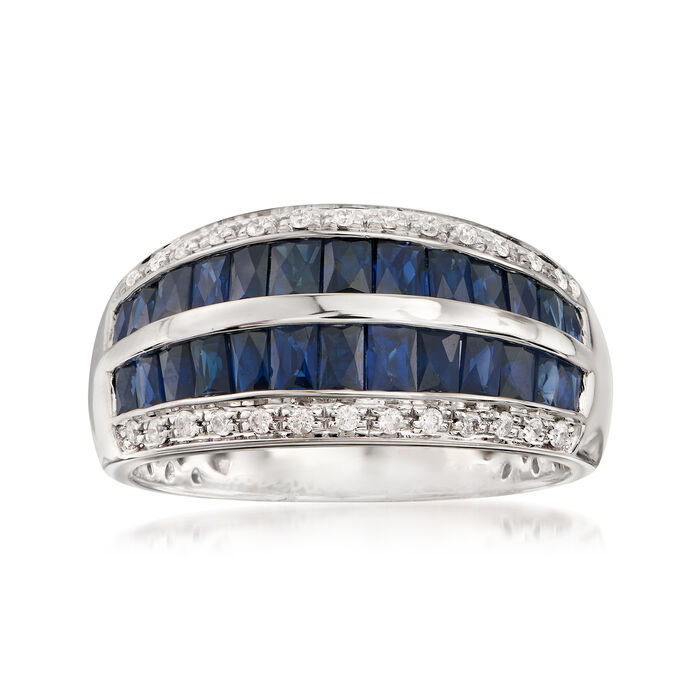 2.10 ct. t.w. Baguette Sapphire and .14 ct. t.w. Diamond Ring in 14kt White Gold, , default