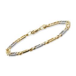 Men's 14kt Two-Tone Gold Curb and Window-Link Bracelet, , default