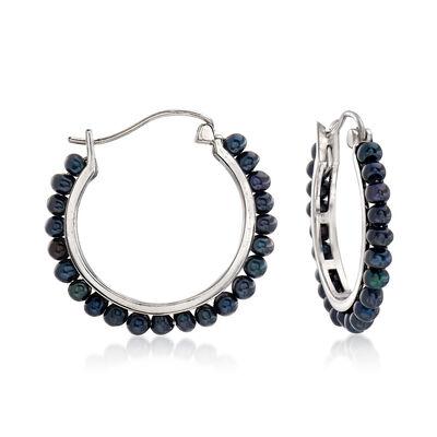 3-3.5mm Black Cultured Pearl Hoop Earrings in Sterling Silver, , default