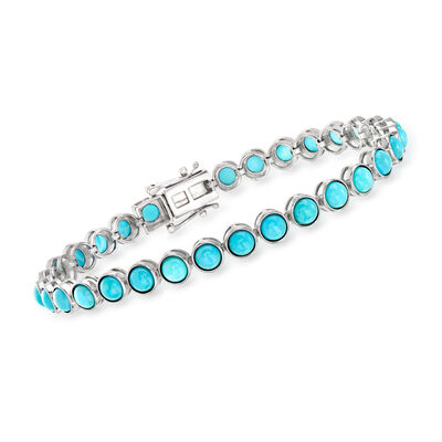 Turquoise Tennis Bracelet in Sterling Silver