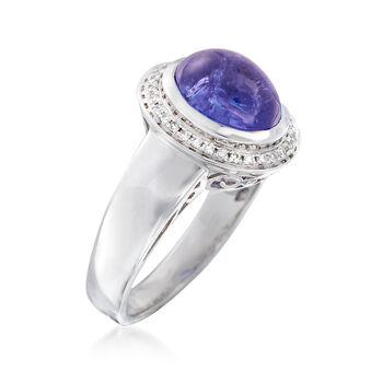 4.20 Carat Tanzanite and .17 ct. t.w. Diamond Ring in 14kt White Gold