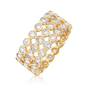 3.00 ct. t.w. Bezel-Set Diamond Three-Row Eternity Band in 14kt Yellow Gold, , default