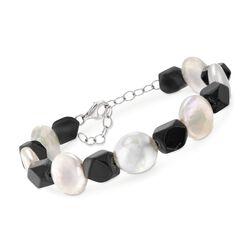"Black Onyx and 13-14mm Cultured Pearl Bracelet in Sterling Silver. 7.5"", , default"