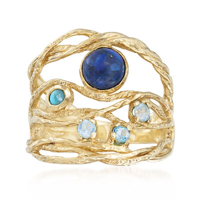 Lapis, Turquoise and .10 ct. t.w. Blue Topaz Openwork Ring in 14kt Yellow Gold, , default