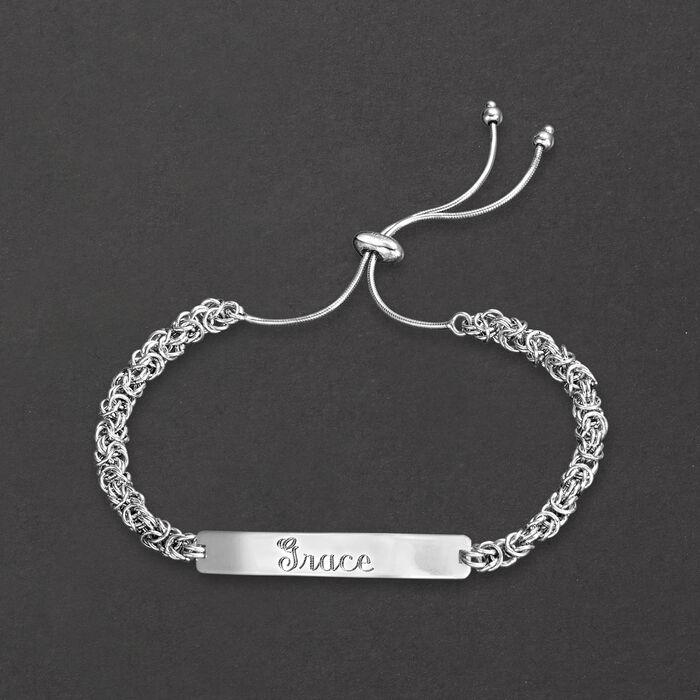 Sterling Silver Name Plate ID Byzantine Bolo Bracelet
