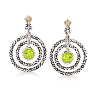 1.70 ct. t.w. Peridot and Multi-Circle Drop Earrings in Sterling Silver and 14kt Gold, , default