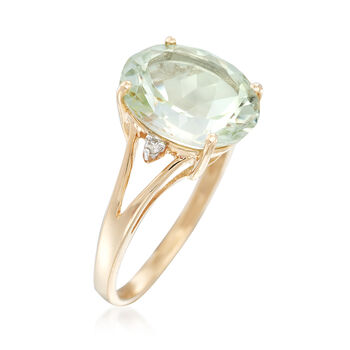 4.00 Carat Green Prasiolite Ring with Diamond Accents in 14kt Yellow Gold