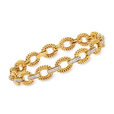 .75 ct. t.w. Diamond Open-Link Bracelet in 18kt Yellow Gold Over Sterling