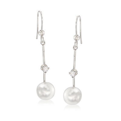 C. 1990 Vintage Stefan Hafner Cultured Pearl and .20 ct. t.w. Diamond Drop Earrings in 18kt White Gold