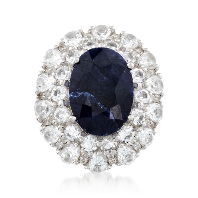 7.25 Carat Sapphire and 4.40 ct. t.w. White Topaz Ring in Sterling Silver