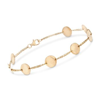 14kt Yellow Gold Polished Disc Station Bracelet, , default