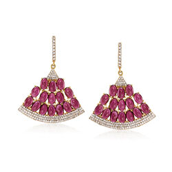 18.00 ct. t.w. Rhodolite Garnet and 1.30 ct. t.w. White Zircon Fan Earrings in 18kt Gold Over Sterling, , default