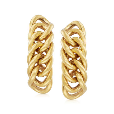 C. 1980 Vintage 18kt Yellow Gold Cuban-Link Earrings, , default