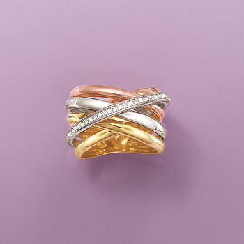 .22 ct. t.w. Diamond Multi-Row Sash Ring in 14kt Tri-Colored Gold. Size 5, , default