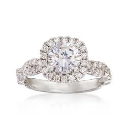 .58 ct. t.w. Diamond Crisscross Halo Engagement Ring Setting in 14kt White Gold, , default