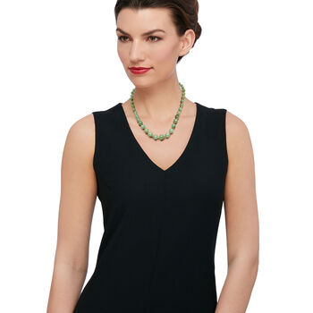 """6-12mm Green Jade Bead Necklace With 14kt Yellow Gold. 18"""", , default"""