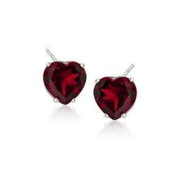 4.00 ct. t.w. Garnet Heart Stud Earrings in 14kt White Gold, , default