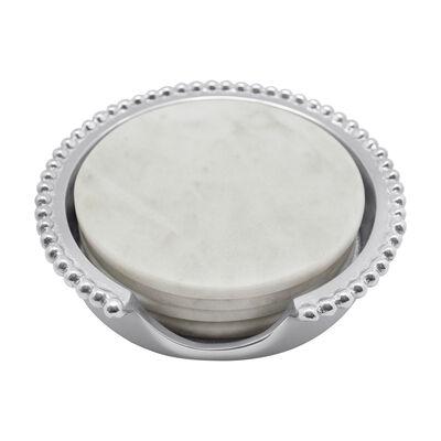 Mariposa Beaded Marble Coaster Set, , default