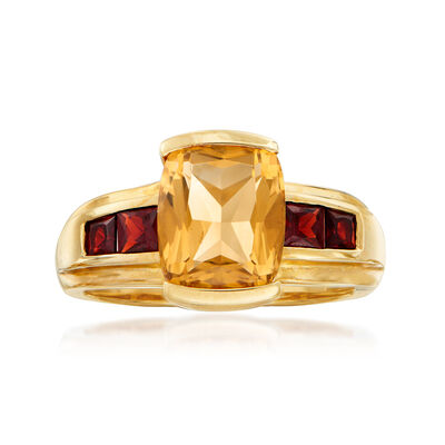 C. 1980 Vintage 2.90 Carat Citrine and .80 ct. t.w. Garnet in 10kt Yellow Gold, , default