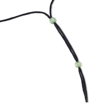 Green Jade Snake Pendant Necklace with Black Satin Cord , , default