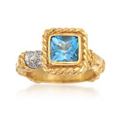 C. 1990 Vintage Cassis 1.50 Carat Blue Topaz and .15 ct. t.w. Diamond Ring in 18kt Yellow Gold. Size 5.75, , default