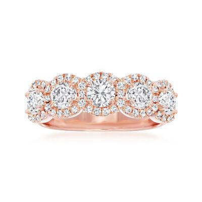 Henri Daussi 1.40 ct. t.w. Diamond Halo Ring in 18kt Rose Gold